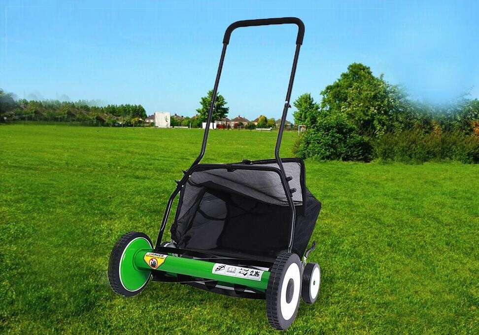 20 Inch Manual Garden Lawn Mower  With 4 Wheels Cutting Height 34-64mm